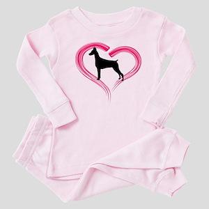 Heart My Doberman Baby Pajamas