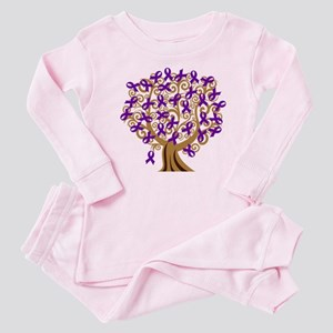Purple Ribbon Awareness Tree Baby Pajamas