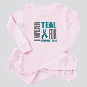 Teal Awareness Ribbon Customized Baby Pajamas