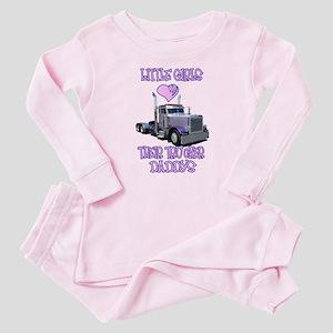 Little Girls Love Their Trucker Daddys Baby Pajama