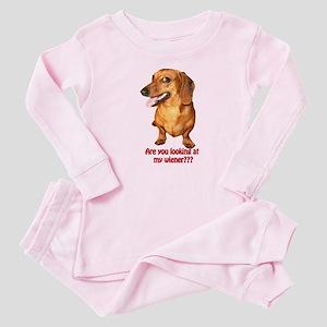Looking at My Wiener Dachshund Baby Pajamas