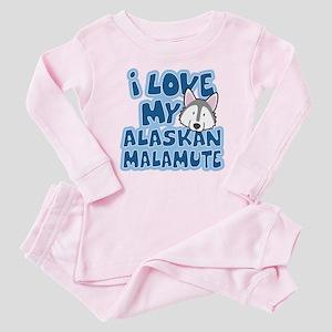 I Love my Alaskan Malamute Baby Pajamas