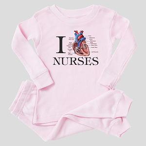 I Heart Nurses Baby Pajamas