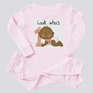 African American Girl 1st Birthday Baby Pajamas