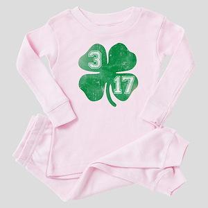St Patricks Day 3/17 Shamrock Baby Pajamas