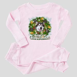 Merry Christmas Alaskan Malam Baby Pajamas