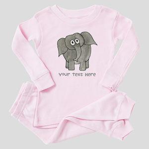 Elephant. Custom Text. Baby Pajamas