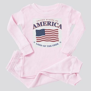 4th July American Flag Baby Snap T-Shirt / Baby Pa