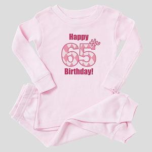 Happy 65th Birthday - Pink Argyle Baby Pajamas