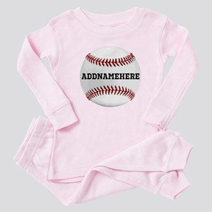 Personalized Baseball Red/White Baby Pajamas