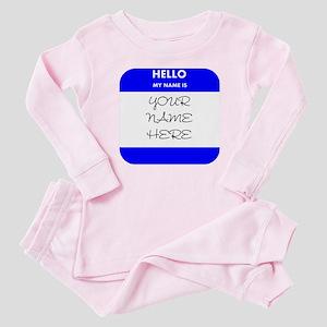 Custom Blue Name Tag Baby Pajamas