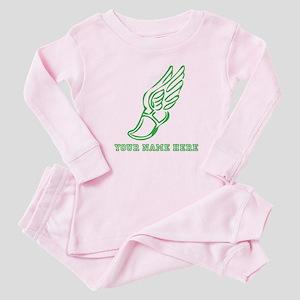 Custom Green Running Shoe With Wings Baby Pajamas