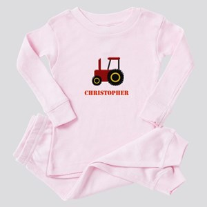 Personalised Red Tractor Baby Pajamas
