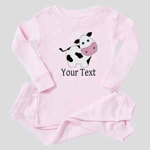Personalizable Black and White Cow Baby Pajamas