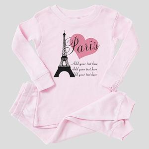 custom add text paris Baby Pajamas