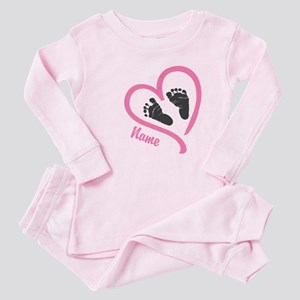 Baby Feet Pink Personalized Baby Pajamas
