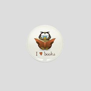 Book Owl I Love Books Mini Button (10 pack)