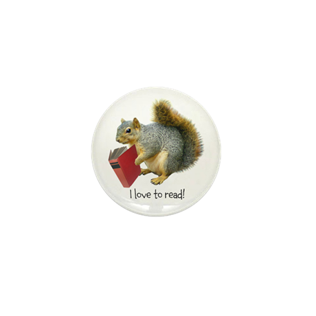 Squirrel with Book Mini Button (10 pack)