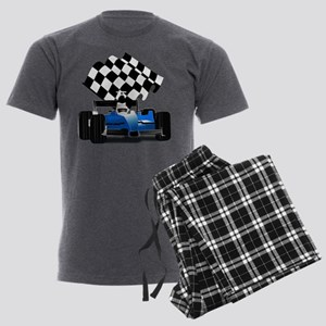 Blue Race Car with Checkered F Men's Dark Pajamas
