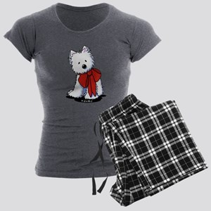 Red Ribbon Westie Women's Dark Pajamas