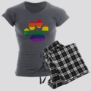 Gay Pride Paw Print Women's Charcoal Pajamas