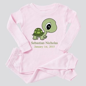 CUSTOM Green Baby Turtle w/Name and Date Pink Paja
