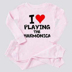I Love Playing The Harmonica Toddler Pink Pajamas