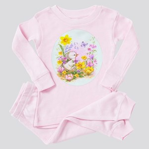 Cute Easter Duckling Chick and Spring Flowers Paja