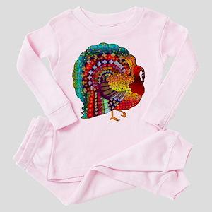 Thanksgiving Jeweled Turkey Toddler Pink Pajamas