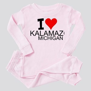 I Love Kalamazoo, Michigan Toddler Pink Pajamas