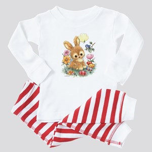 Cute Easter Bunny with Flowers and Eggs Pajamas