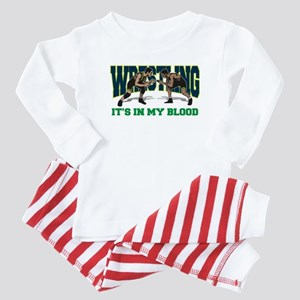 Wrestling It's In My Blood Baby Pajamas