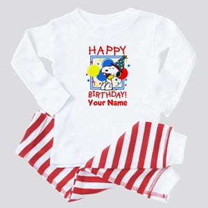 Peanuts Happy Birthday Red Personalized Baby Pajam