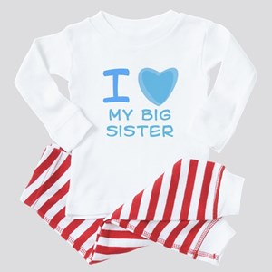 Blue I Heart (Love) My Big Si Baby Pajamas