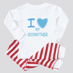 Blue I Heart (Love) My Godmot Baby Pajamas