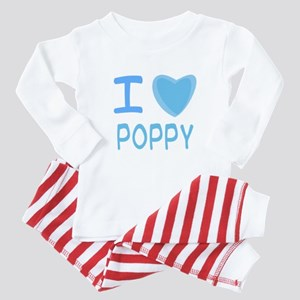 Blue I Heart (Love) Poppy Baby Pajamas
