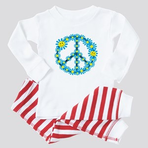 Smiley face flower peace sign baby Baby Pajamass