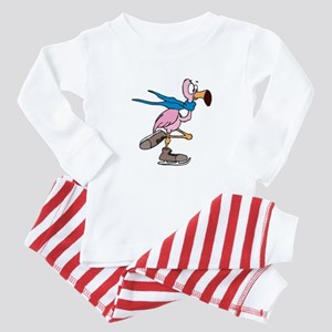 Silly Ice Skating Flamingo Baby Pajamas