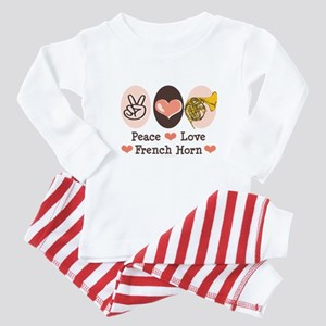 Peace Love French Horn Baby Pajamas