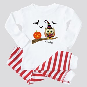 Custom name Halloween owl Baby Pajamas