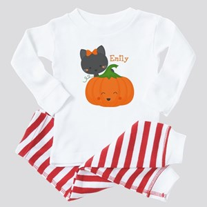 Kitty and Pumpkin Personalized Baby Pajamas