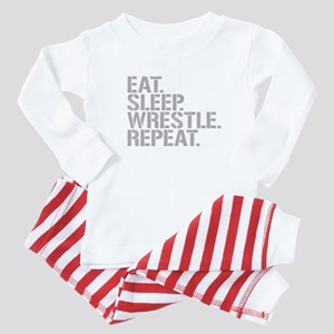 Eat Sleep Wrestle Repeat Baby Pajamas