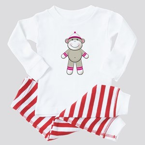 Pink Sock Monkey Baby Pajamas