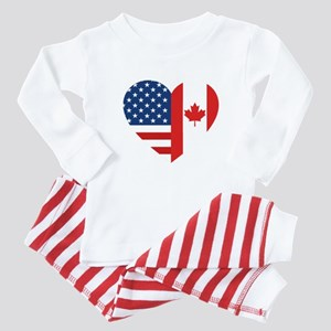 Canadian American Flag Baby Pajamas