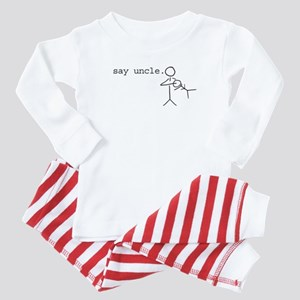 say uncle. nuggie stick figure Baby Pajamas