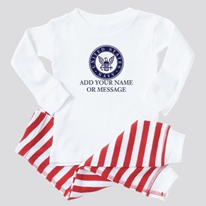 PERSONALIZED US Navy Blue White Body Suit