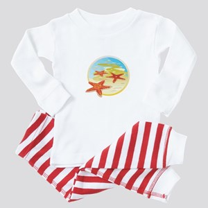 Starfish Beach Scene Baby Pajamas