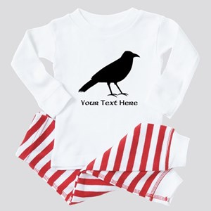 Crow and Custom Black Text. Baby Pajamas