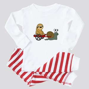 Snail Pulling Wagon with Sloth Baby Pajamas