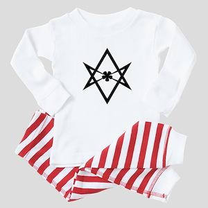 Unicursal hexagram (Black) Baby Pajamas